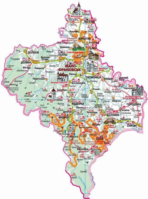 Карта івано франківської області