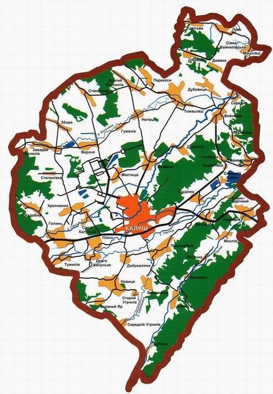 Карта калуського району